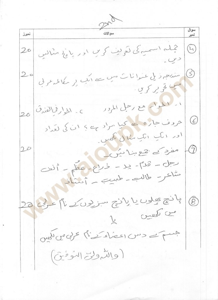 114 part 2 Arabic old paper AIOU