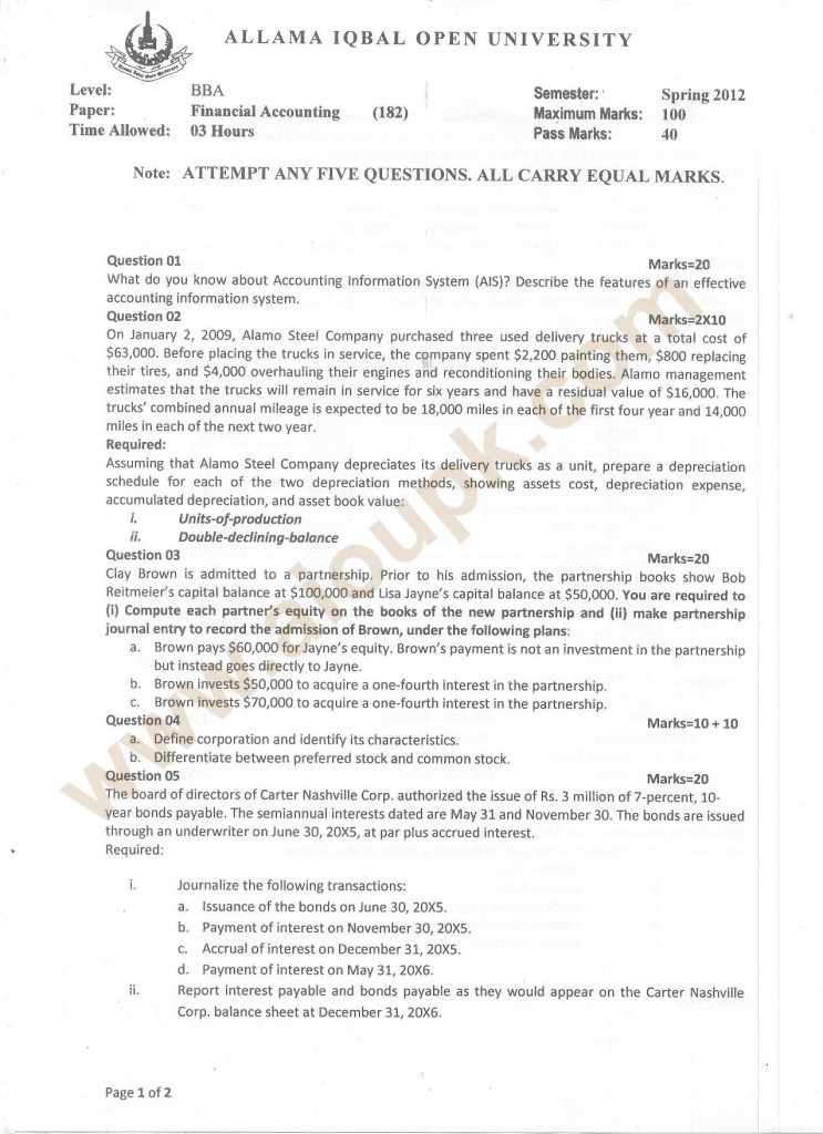 Code 182 BBA Financial accounting Past Paper part1