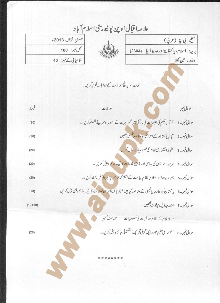 AIOU Old Paper Code 2604  Islam Pakistan and Modern World 2014