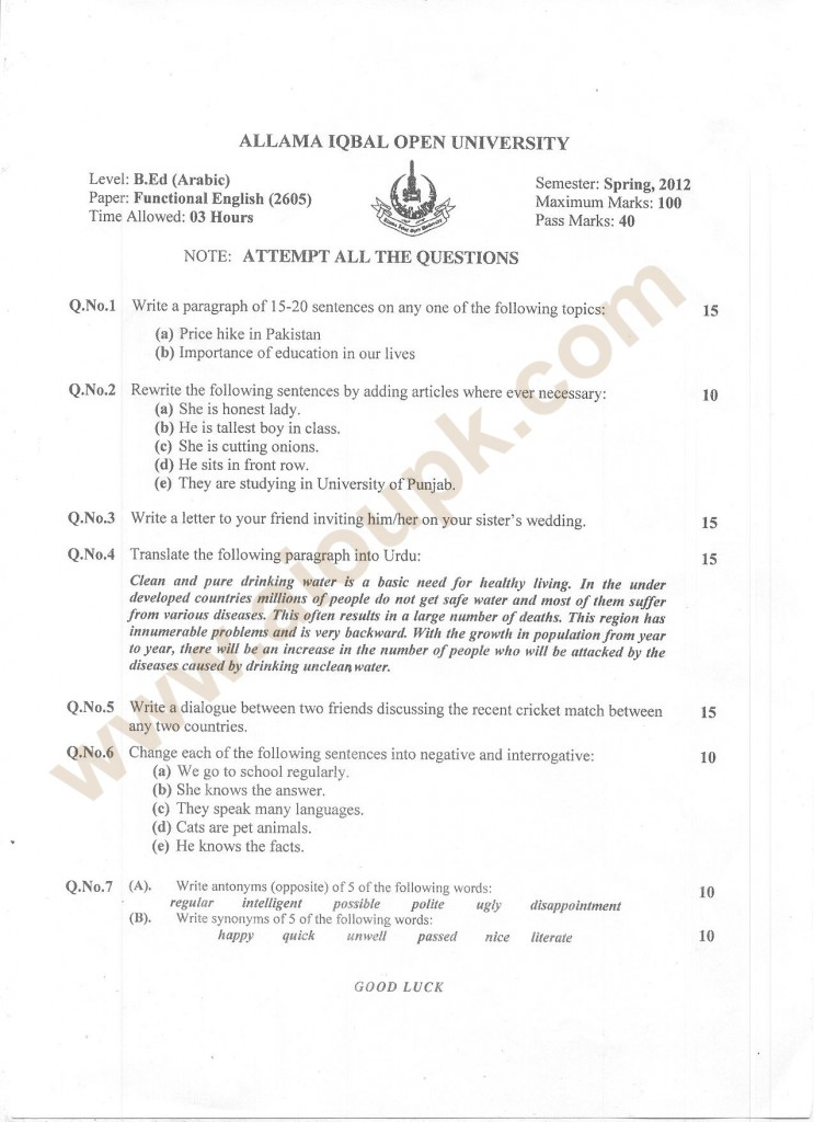 Functional English code 2605 old paper of aiou