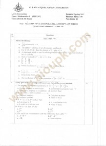 Intermediate mathematics papers of aiou university codes 323
