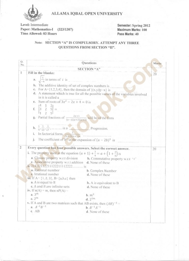 Intermediate mathematics papers of aiou university codes 323