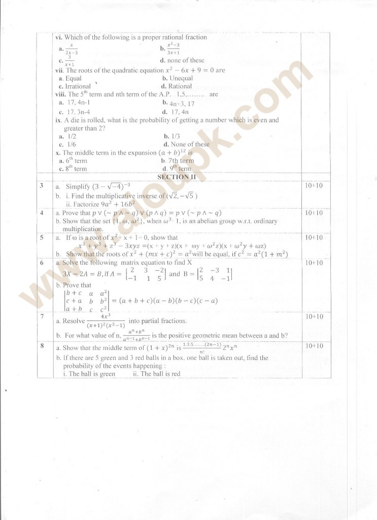 mathematics old papers of intermediate level