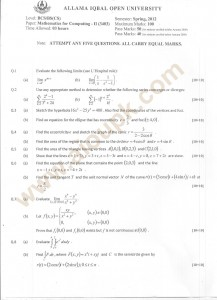 Mathematics for Computing-II old paper of aiou
