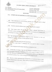 Management Theory and Practice old paper aiou