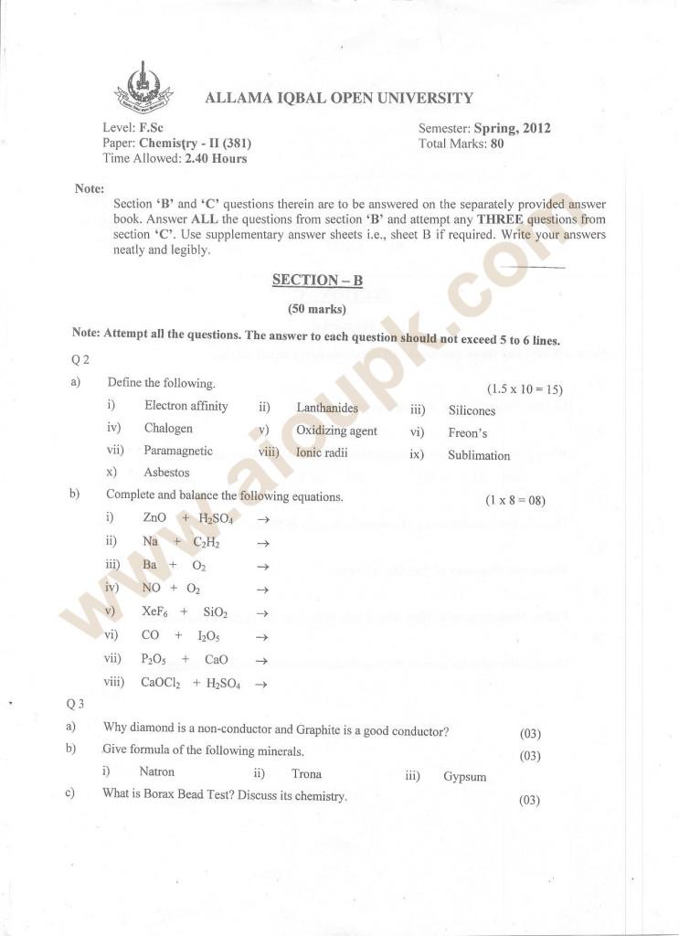 Chemistry-II past paper F.Sc