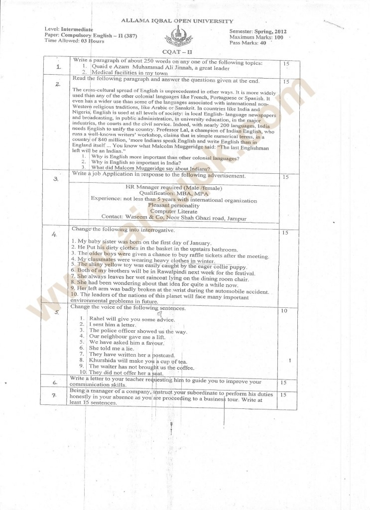 Compulsory English-II code 387 Intermediate old paper fa f.sc