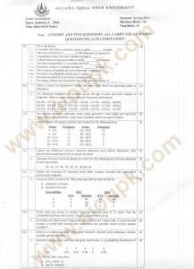 Statistics-I intermediate fa old paper