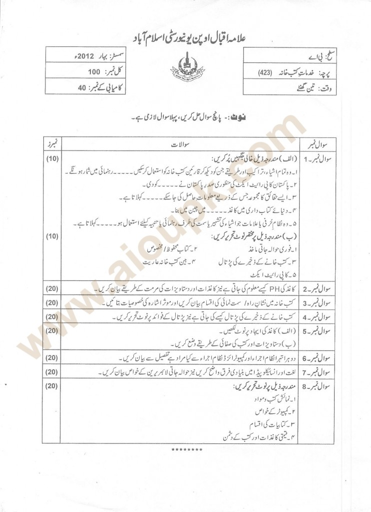 423 Past papers of ba aiou