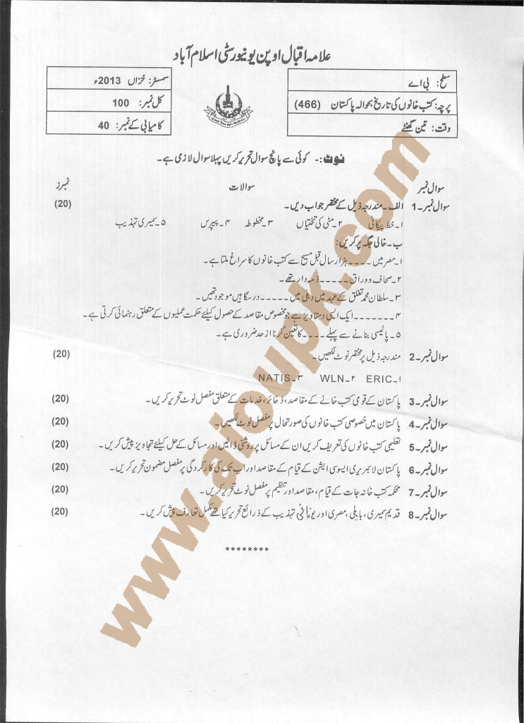 AIOU old papers code 466 History of Libraries with Reference to Pakistan 2014