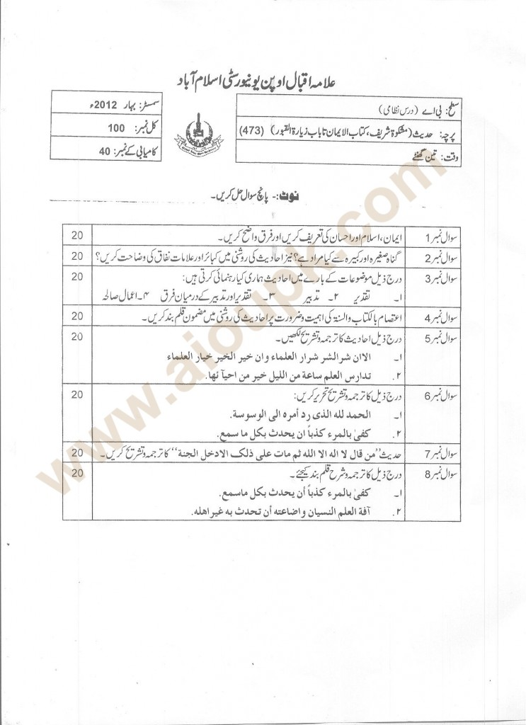 Hadith AIOU Old Papers