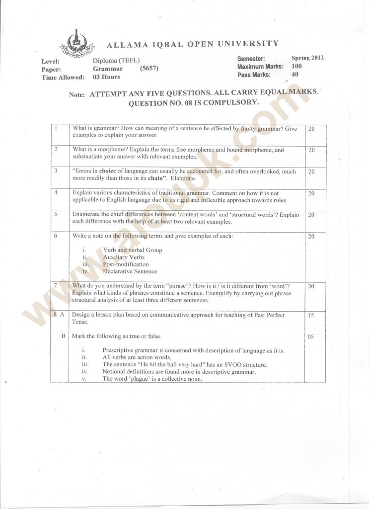 Code 5657-Grammar Diploma TEFL