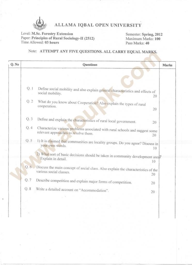 Principles of rural sociology II old paper