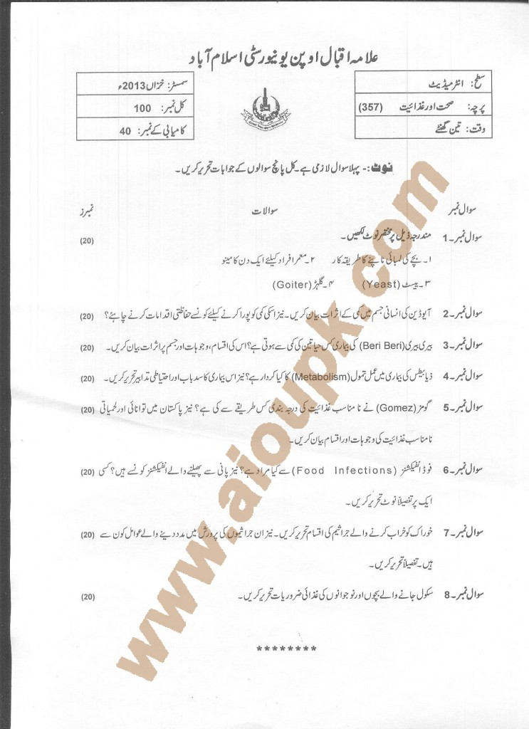 AIOU Old Paper Code 357 Health and Nutrition 2015