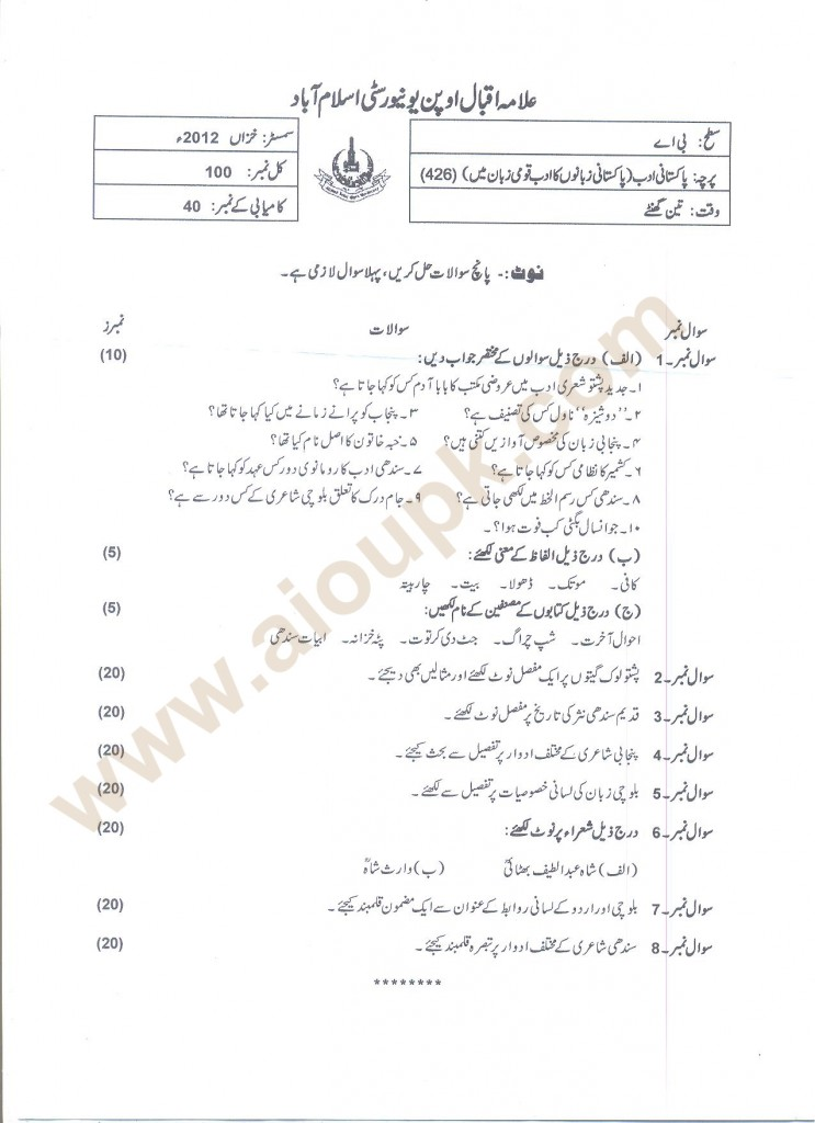 BA AIOU Old Paper Autumn 2012
