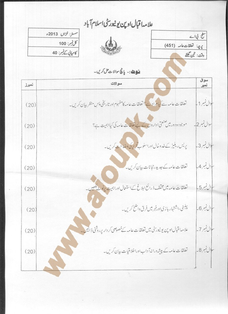 AIOU Old Paper Code 451 Public Relations 2014-15