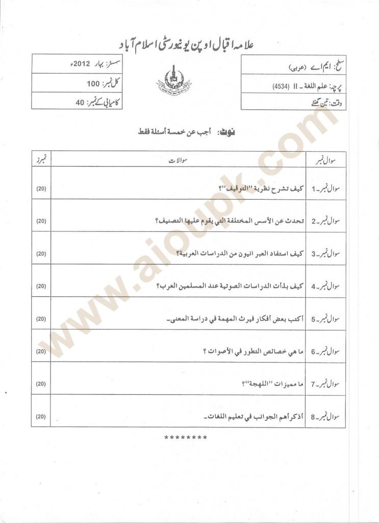Linguistics-II Old Paper for MA Arabic
