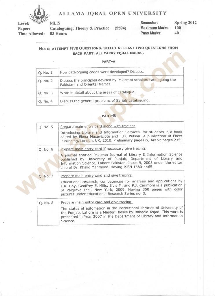 MLIS Cataloging Past Paper of AIOU