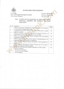 MBA Total-Quality-Management old papers
