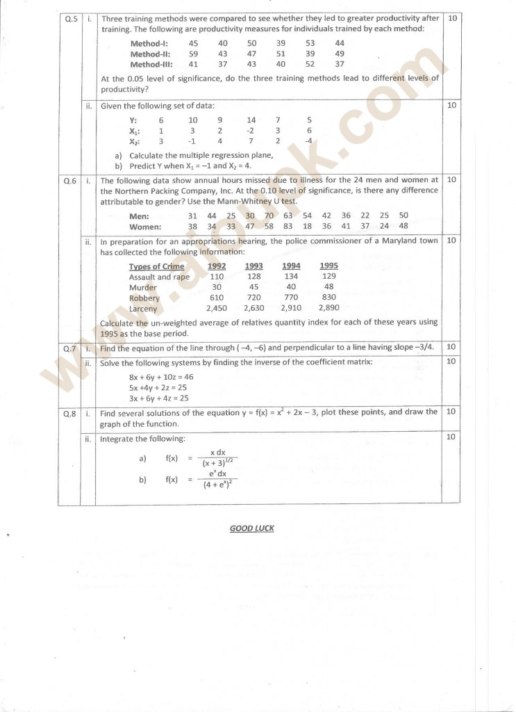 Math sample mba assignments