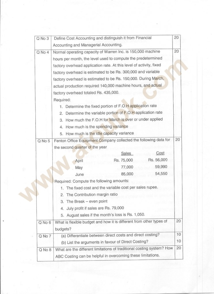 cost and management accounting (mgt402) assignment # 1 Cost & management accounting (mgt-402) fall semester 2006 assignment-1 question: gogo manufacturing company provides the following information on june 30.