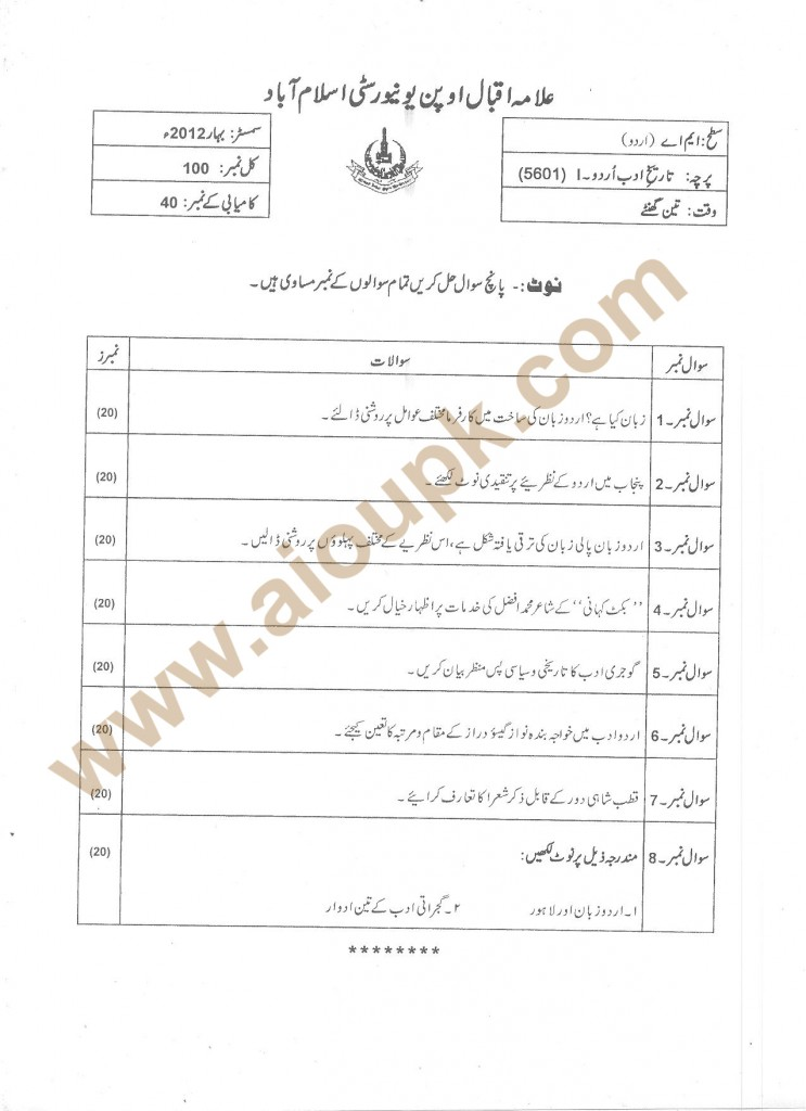 History of Urdu Adab-II Code 5601
