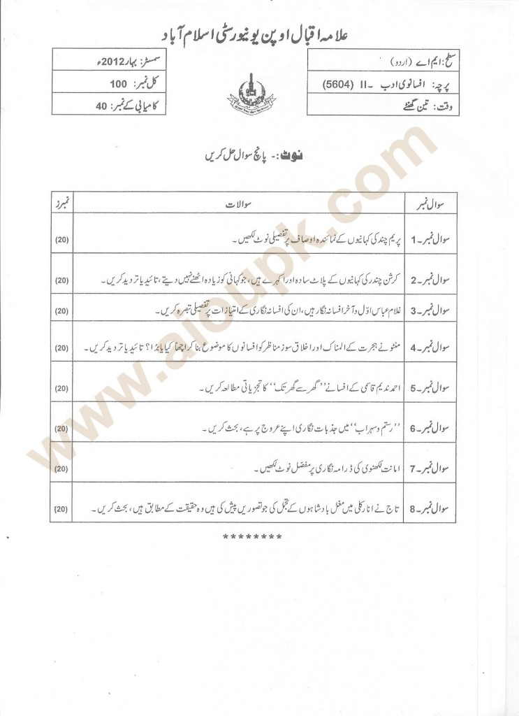 Urdu Fiction-II  AIOU Code 5604 old paper