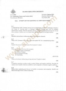 MBA Marketing Theory Practice past paper of aiou