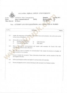 Mass Communication-II Old paper code 5632 AIOU MS.c