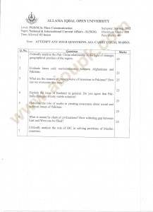 National and International Current Affairs-II Code 5634 Old Papers aiou