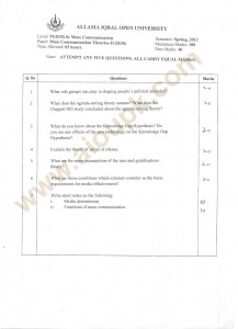 Mass Communication Theories-II m.Sc old paper AIOu Code 5636