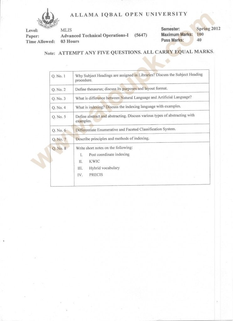 aiou MLIS papers of Advanced technical Operations-I