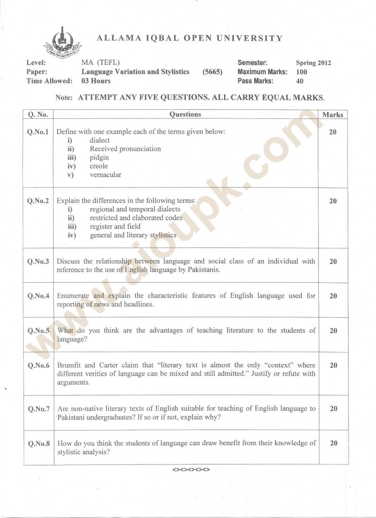 Language Variation & Stylistics Code 5665 AIOU M.Sc old papers 2013