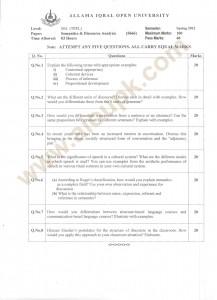 Semantics Discourse Analysis Code 5666 Past paper Guess paper