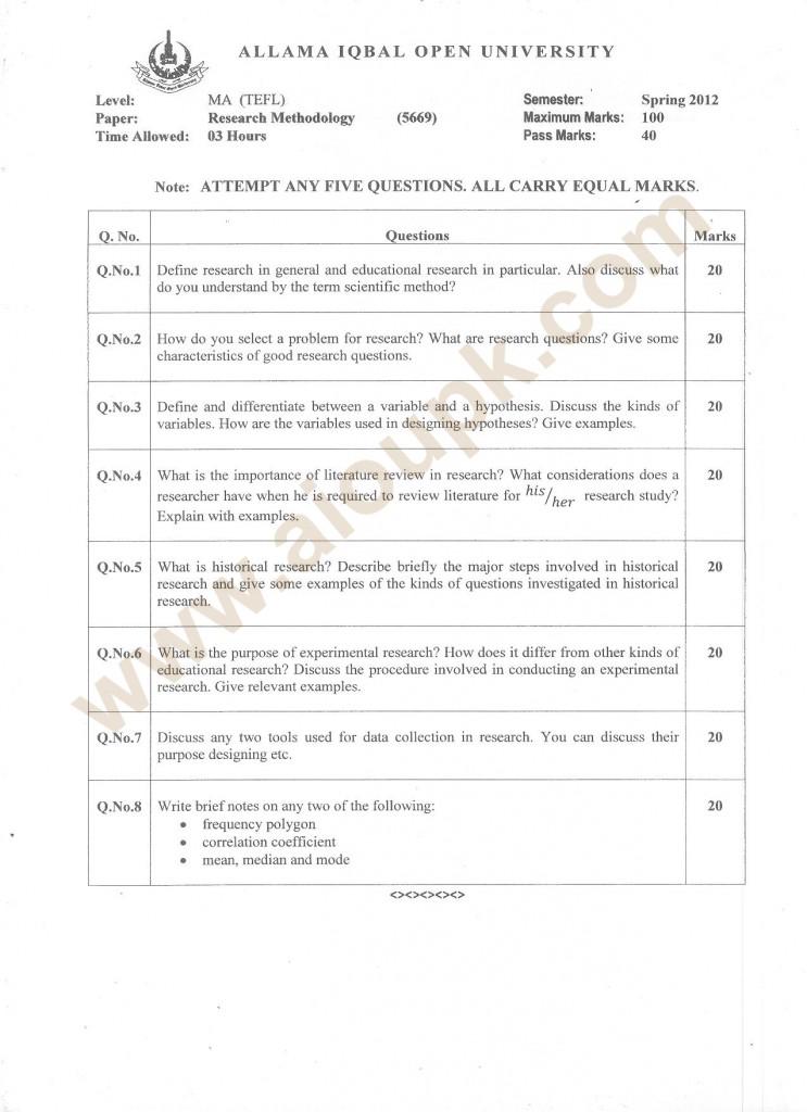 MA TEFL Research Methodology Code 5669 - AIOU
