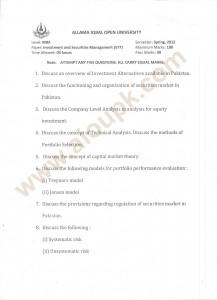 MBA Investment and Securities Management Papers