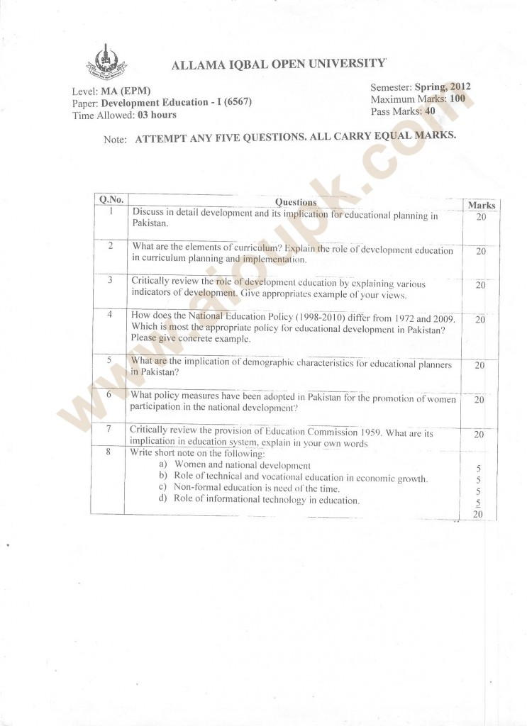 Development Education-I Code 6567 MA Old Paper AIOU