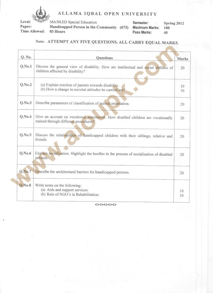 Handicapped person in community MA /M.Ed past paper