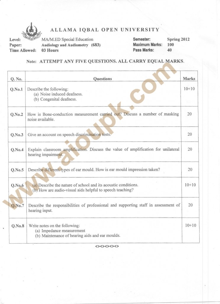 Audiology Audiometry past paper of M.Ed / M.Sc