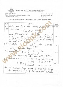 Mathematical methods in physics II past paper