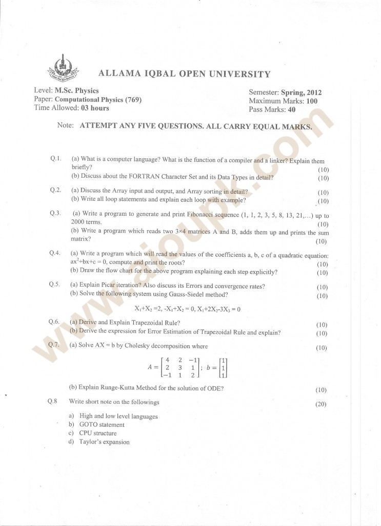 Computational Physics past paper