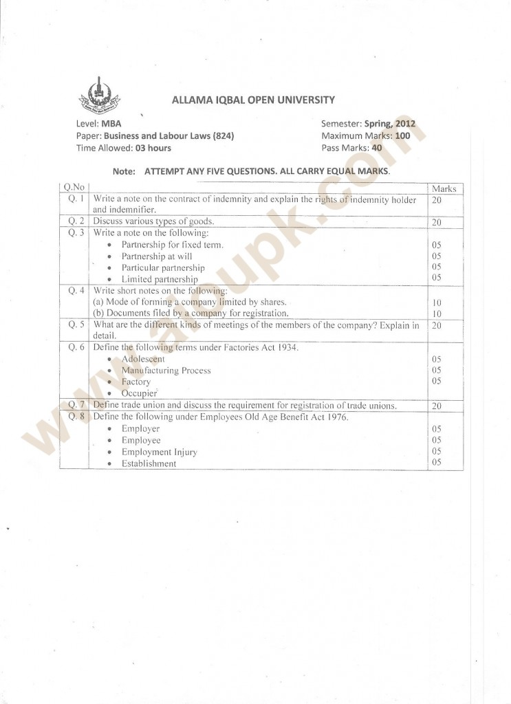 MBA Business and Labour Laws Papers