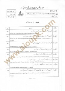 Masters aiou past paper of Adult Education in Comparative Perspective