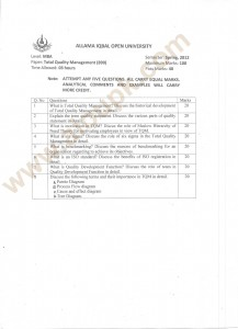 MBA Total Quality Management Papers