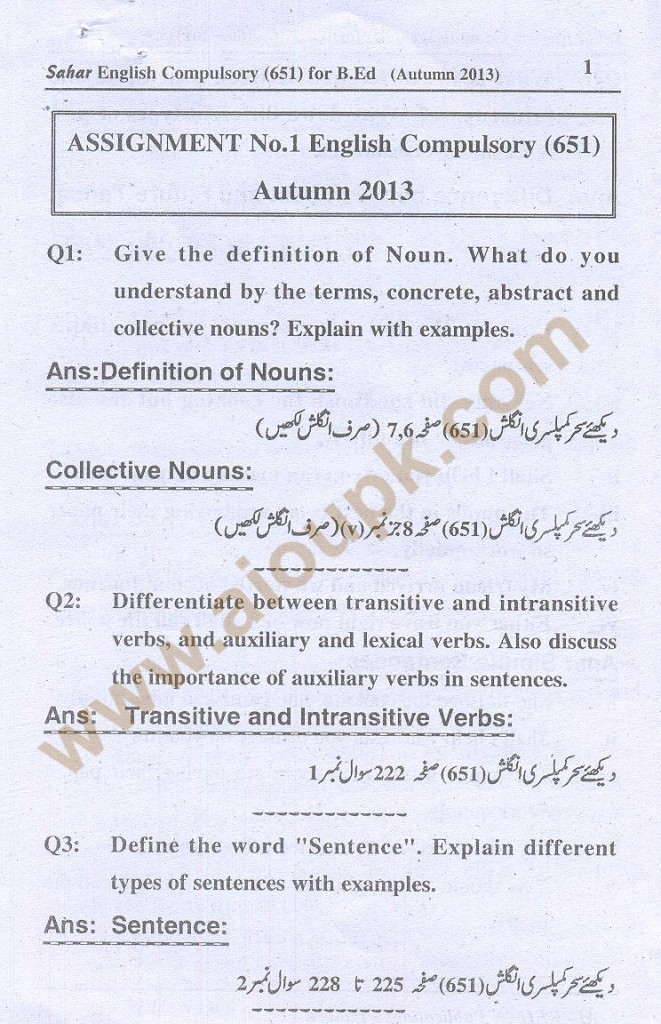 1-English B.Ed-Code 651 AIOU Solved Assignment- Autumn 2013
