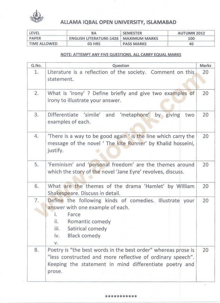 English Literature BA old paper of Allama IQbal Open University 2014
