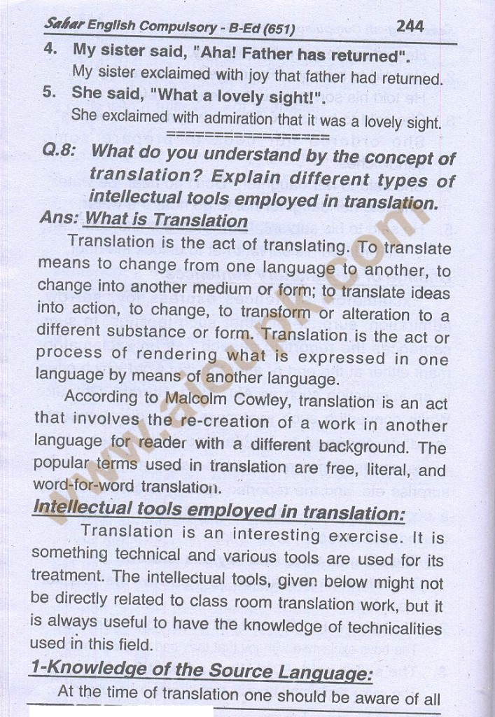 15-English B.Ed-Code 651 AIOU Solved Assignment- Autumn 2013