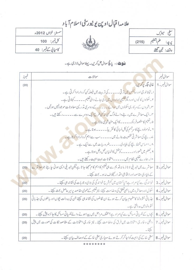 Education Code 215 AIOU Papers