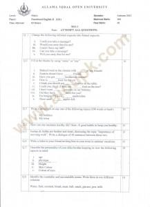 Functional English-II Code 221 Past Paper Compulsory