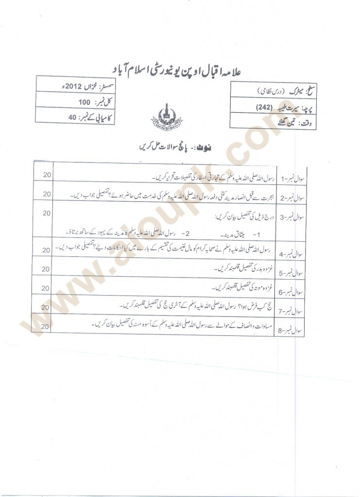 AIOU Old paper Code 242